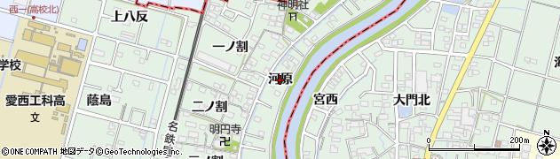 愛知県愛西市渕高町(河原)周辺の地図