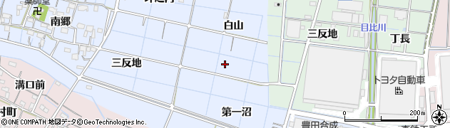 愛知県稲沢市西溝口町(白山)周辺の地図