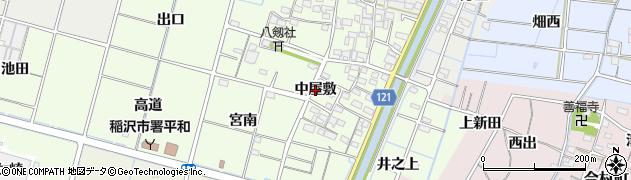 愛知県稲沢市平和町中三宅(中屋敷)周辺の地図