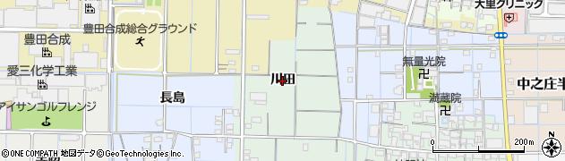 愛知県稲沢市中之庄町(川田)周辺の地図