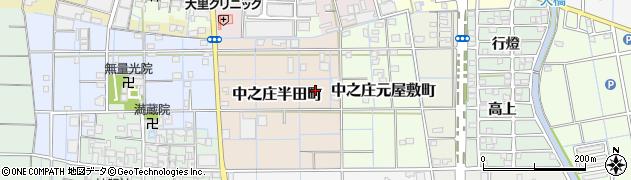 愛知県稲沢市中之庄半田町周辺の地図