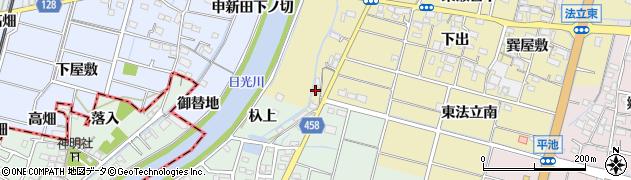 愛知県稲沢市平和町法立(柳場)周辺の地図