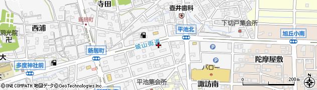愛知県尾張旭市新居町(上の田)周辺の地図