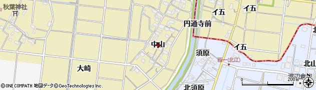 愛知県愛西市下東川町(中山)周辺の地図