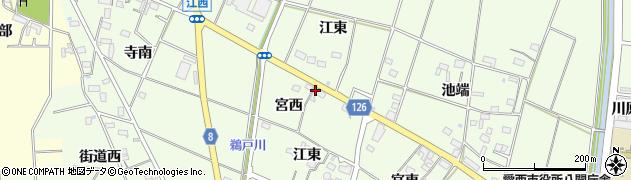 愛知県愛西市江西町(宮西)周辺の地図