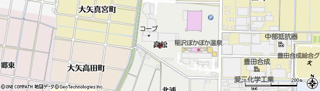 愛知県稲沢市大矢町(高松)周辺の地図