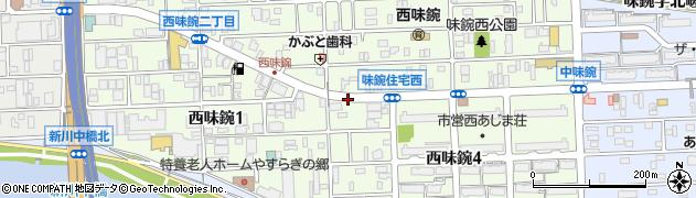 愛知県名古屋市北区西味鋺周辺の地図