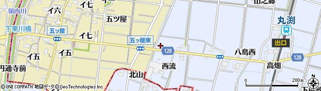 愛知県稲沢市祖父江町三丸渕(西流)周辺の地図