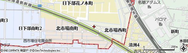 愛知県稲沢市北市場西町周辺の地図
