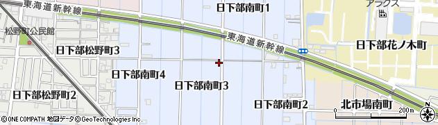 愛知県稲沢市日下部南町周辺の地図