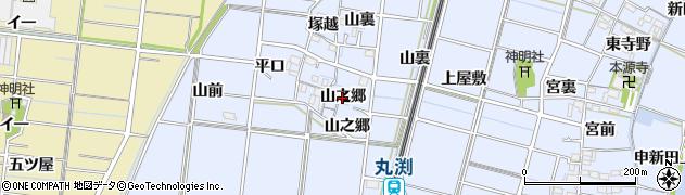 愛知県稲沢市祖父江町三丸渕(山之郷)周辺の地図