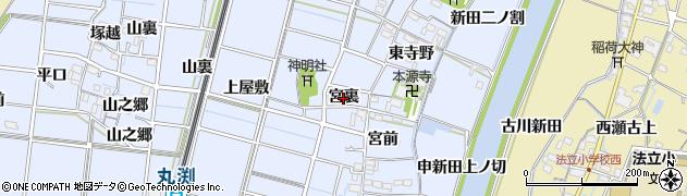 愛知県稲沢市祖父江町三丸渕(宮裏)周辺の地図