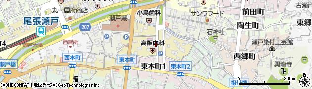 愛知県瀬戸市南仲之切町周辺の地図