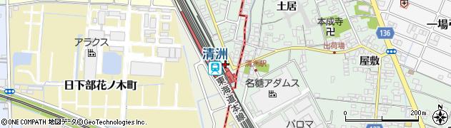 愛知県稲沢市北市場町(古三味)周辺の地図
