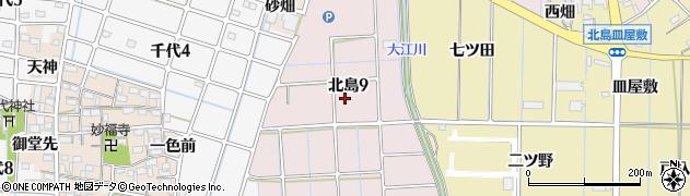 愛知県稲沢市北島周辺の地図