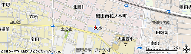 愛知県稲沢市北島町(大水)周辺の地図