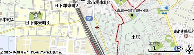 愛知県稲沢市北市場町(西玄野)周辺の地図
