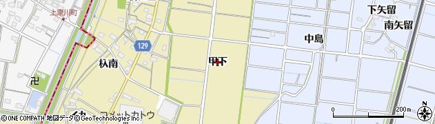 愛知県稲沢市祖父江町甲新田(甲下)周辺の地図