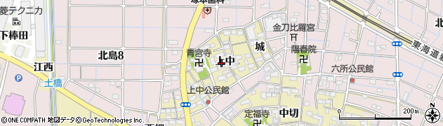 愛知県稲沢市北島町(上中)周辺の地図