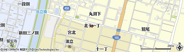 愛知県稲沢市平和町法立(北十一丁)周辺の地図