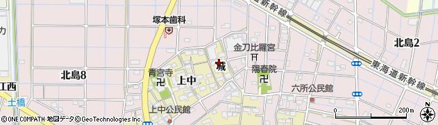愛知県稲沢市北島町(城)周辺の地図