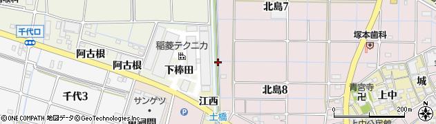 愛知県稲沢市北島町(棒田)周辺の地図
