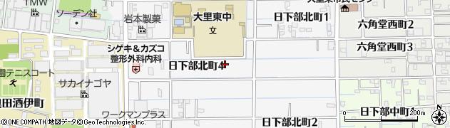 愛知県稲沢市日下部北町周辺の地図
