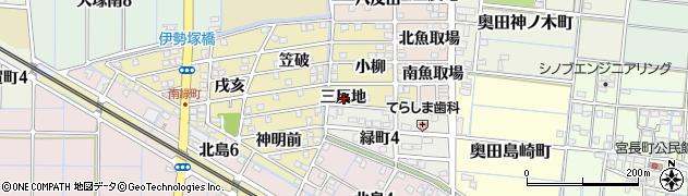 愛知県稲沢市北島町(三反地)周辺の地図