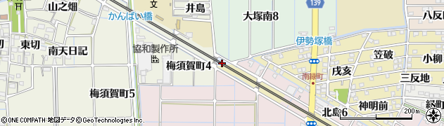 愛知県稲沢市大塚町(馬場)周辺の地図
