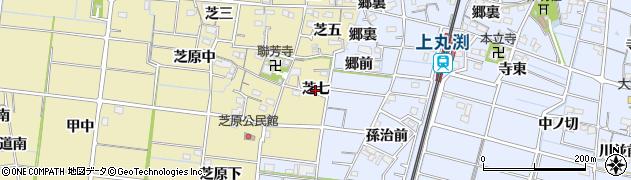 愛知県稲沢市祖父江町甲新田(芝七)周辺の地図