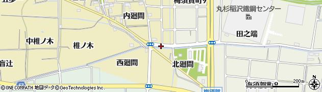 愛知県稲沢市矢合町(縄境)周辺の地図