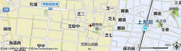 愛知県稲沢市祖父江町甲新田(芝四)周辺の地図