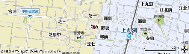 愛知県稲沢市祖父江町甲新田(芝五)周辺の地図