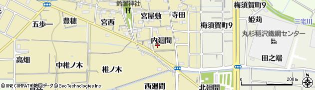 愛知県稲沢市矢合町(内廻間)周辺の地図