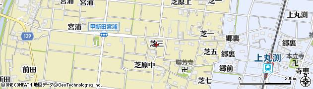 愛知県稲沢市祖父江町甲新田(芝三)周辺の地図