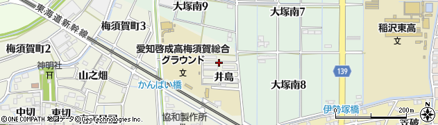 愛知県稲沢市梅須賀町(江向)周辺の地図