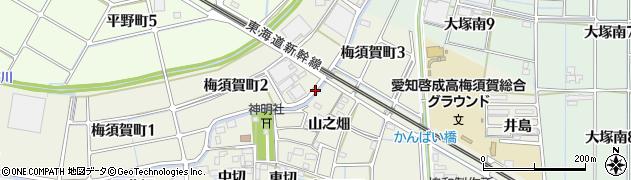 愛知県稲沢市梅須賀町(午新田)周辺の地図