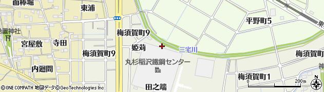 愛知県稲沢市梅須賀町(姫苅)周辺の地図