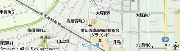 愛知県稲沢市梅須賀町(唐人)周辺の地図