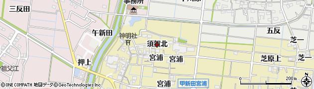 愛知県稲沢市祖父江町甲新田(須賀北)周辺の地図