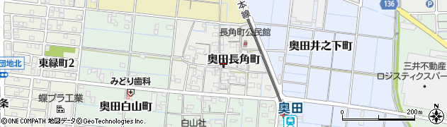 愛知県稲沢市奥田長角町周辺の地図
