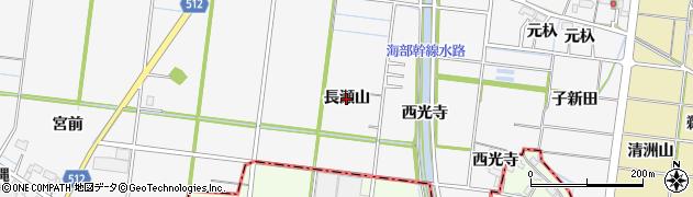 愛知県稲沢市祖父江町神明津(長瀬山)周辺の地図