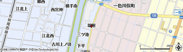 愛知県稲沢市片原一色町(堤附)周辺の地図
