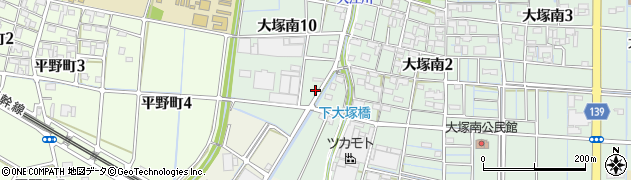 愛知県稲沢市大塚町(須ケ越)周辺の地図