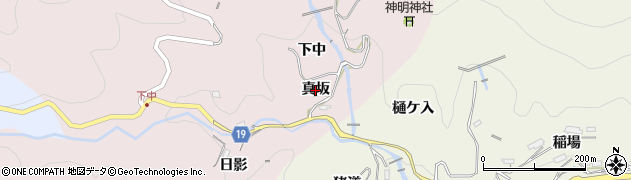 愛知県豊田市下中町(真坂)周辺の地図