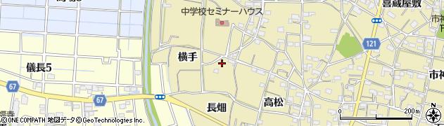 愛知県稲沢市矢合町(横手)周辺の地図