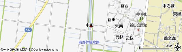 愛知県稲沢市祖父江町神明津(中田)周辺の地図