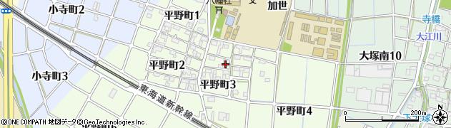 愛知県稲沢市平野周辺の地図
