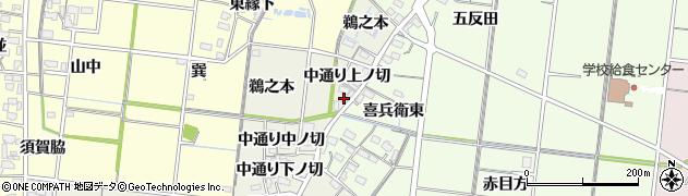 愛知県稲沢市祖父江町島本(中通り中ノ切)周辺の地図