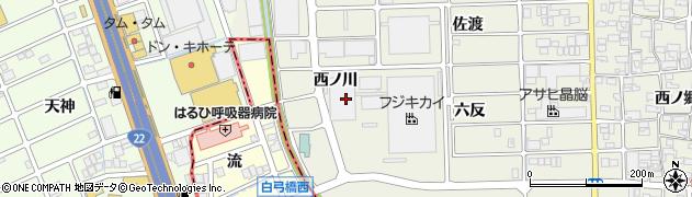 愛知県北名古屋市沖村(西ノ川)周辺の地図